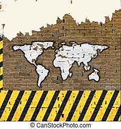 World map on a brick wall building - brick wall with drawn...