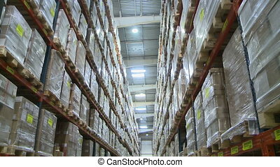 Warehouse. View on lot of shelves with boxes - Warehouse....
