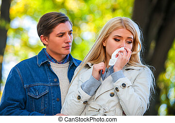 Woman crying after quarreling with Man