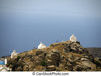 churches on mountain ios cyclades greece - landscape classic...