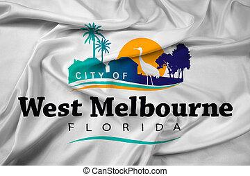 Waving Flag of West Melbourne, Florida, USA