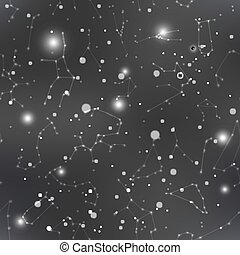 Dark night sky with many stars and constellations, seamless pattern