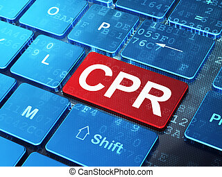 Medicine concept: CPR on computer keyboard background -...