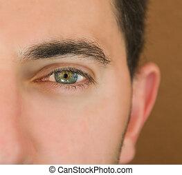 Closeup shot of the man\'eye.