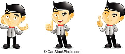 Bartender pose vector art illustration