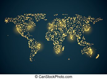 Abstrackt bright glowing map on dark blue background Vector...