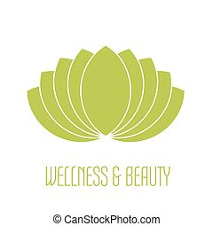 Green lotus icon - wellness beauty and spa theme Simple flat...