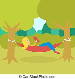 Girl resting in a hammock and reading book vector
