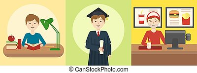 Human life path education and work cartoon vector - Human...