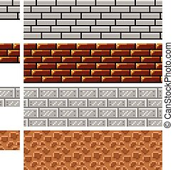 Texture for platformers pixel art vector - brick stone and...