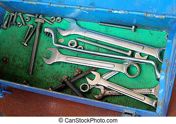 set of tools in blue toolbox