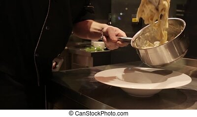 The process of cooking pasta - Cooking pasta dishes in the...