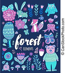 Vector forest elements in doodle childish style, handdrawn...