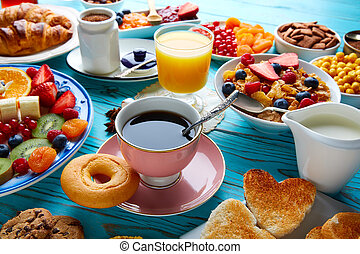 Breakfast buffet healthy continental coffee orange juice...