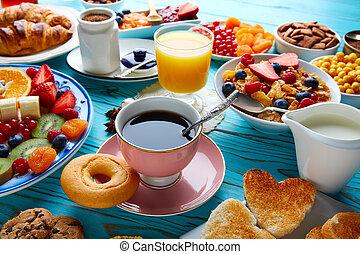 Breakfast buffet healthy continental coffee orange juice...