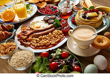 Breakfast buffet full continental and english coffee orange...