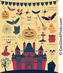 Vector Colorful Hand Sketched Doodle Halloween Icons -...