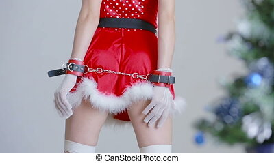 Sexy Santa Girl caresses herself sex games hands in...