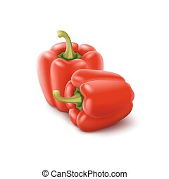 Two Red Sweet Bulgarian Bell Peppers, Paprika - Two Vector...