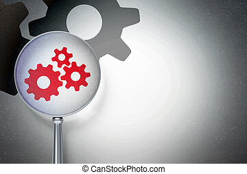 Data concept:  Gears with optical glass on digital background