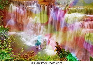 Huai Mae Kamin The waterfall is located on Srinakarin Dam...