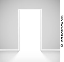 White realistic open door with light in empty room interior....