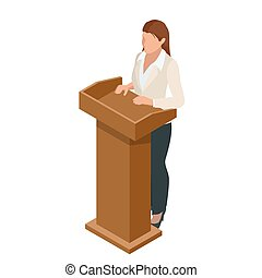 Business woman giving a presentation in a conference or...