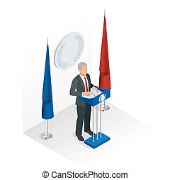 Business man giving a presentation in a conference or meeting setting. Orator speaking from tribune vector illustration.