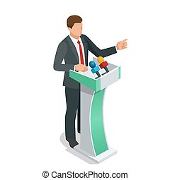Business man giving a presentation in a conference or...