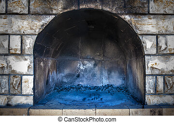 Empty Brick Oven - Closeup of outdoor traditional empty...