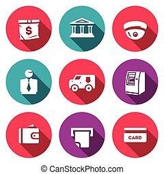 Vector Set of Banking services Icons Money Bag, Bank...