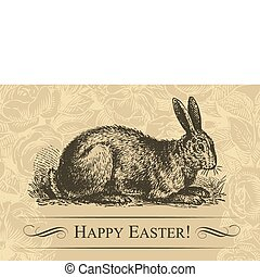 vintage easter card vector - vintage easter card with...