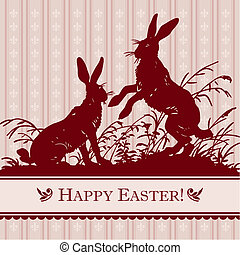 vintage easter card (vector) - vintage easter card with...