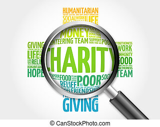 Charity word cloud with magnifying glass, cross concept 3D...