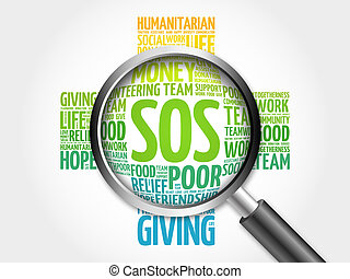 SOS word cloud with magnifying glass, cross concept 3D...