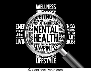 Mental health word cloud with magnifying glass, health...