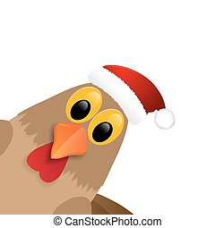 Rooster in Santa hat isolated on white background.