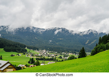 Touristic famous place Gosau, Austria. Picturesque alpine...