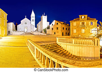 Town of Supetar on Brac island evening panorama, Dalmatia,...