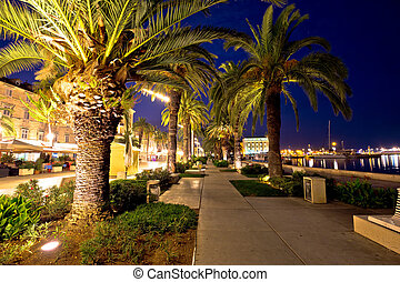 Palm waterfront of Split evening view, Dalmatia, Croatia