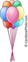 Colorful Balloons On String - Vector illustration of...