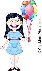 Girl Holding Colorful Balloons