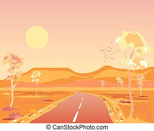 arid australia - a vector illustration in eps 10 format of a...