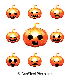 Happy halloween pumkin isolated on white background vector...