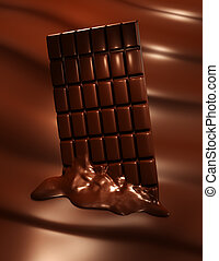 Melting chocolate bar - 3D render of melting chocolate bar...