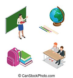 sometric School lesson. Little students and teacher. Isometric Classroom with green chalkboard, teachers desk, pupils tables and chairs. Flat 3d cartoon illustration.