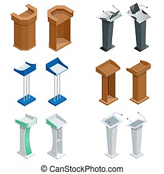 Isometric rostrum, podium, tribune with microphones. Vector...
