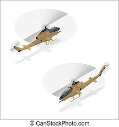 Isometric Military helicopter or army helicopter landing.