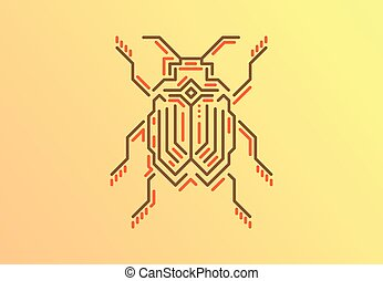 Linear bug in techno style. Vector illustration on gold background.