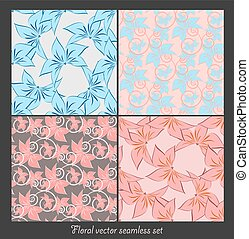 floral seamless vector patterns set